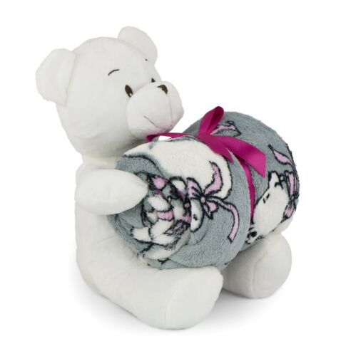 Babydecke Kuscheldecke 75x100 Plüschtier Kinder Decke Bär Bett Junge Mädchen