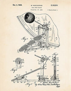 1938 Ludwig Speed King Bass Drum Pedal Beater Gifts For Drummers Patent Print