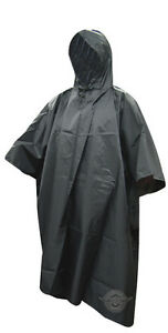 Rain-Poncho-Nylon-Ripstop-With-Carry-Bag-by-5-Star-Gear-BLACK-FREE-SHIP