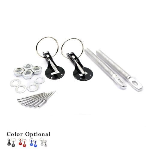 Universal Alloy Mount Bonnet Hood Pin Pins Lock Latch Kit Racing Sport Car Black
