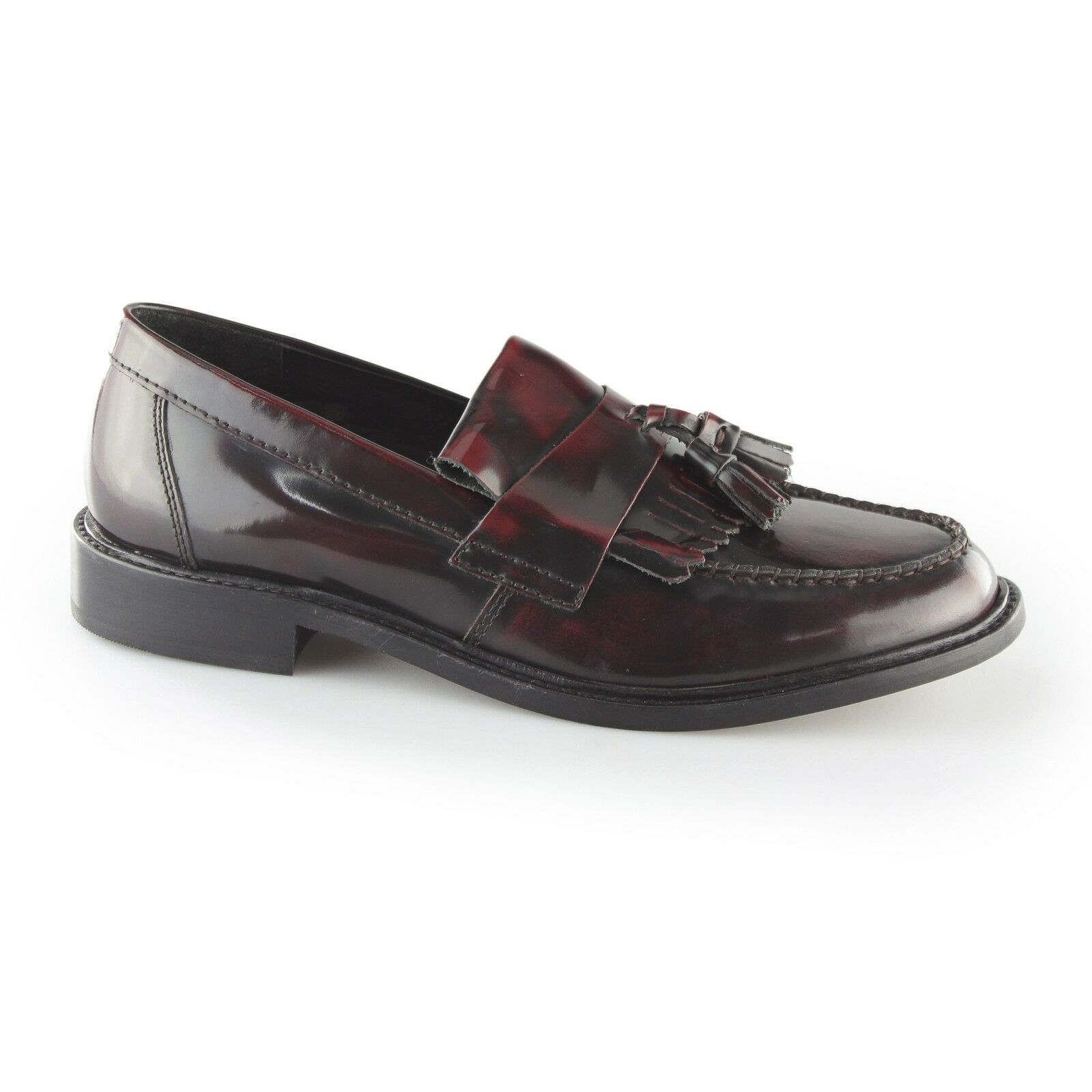 Ikon SELECTA II Mens Polished Leather Tassel Retro 60s MOD Penny Loafers Oxblood