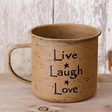 Primitive new mustard finish decor tin mug  /LIVE LAUGH LOVE / nice