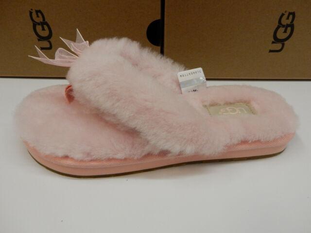 b72ff937b41 UGG Womens SLIPPER Fluff Flip Flop III Seashell Pink Size 6