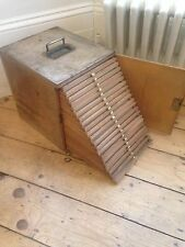 Antique vintage Microscope Slide / slides Collectors Display Cabinet Box + Key