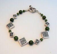 Antique Silver Celtic Knot With Jade Gemstones And Celtic Toggle Bracelet