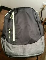 Black/green Moke Laptop Backpack W/three Zipper Compartments With Tags