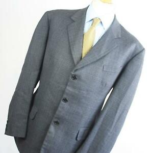 Bentleys-Mens-Grey-Suit-44-40-Long-Single-Breasted-Wool-Blend-Check