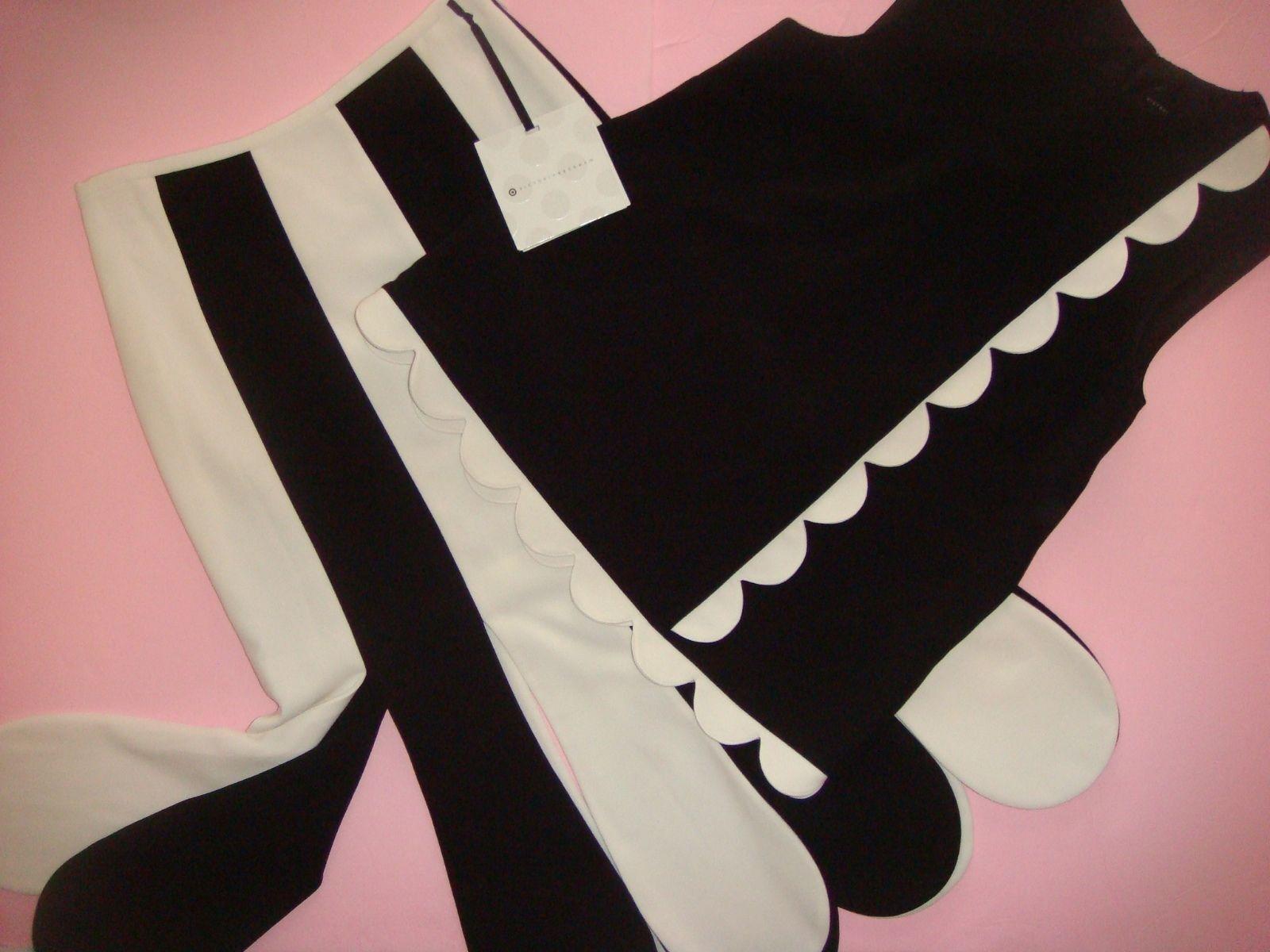 SET Victoria Beckham Woherren schwarz Weiß Twill Tank Top Scallop+SKIRT XS 2,L 8