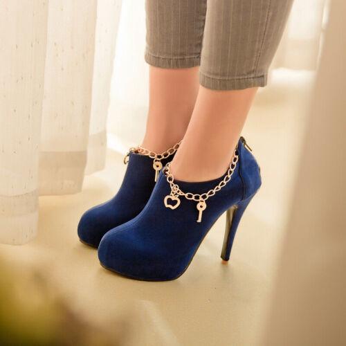 Chaussures Femme Escarpins Chaussures Stilettos Talon Haut Bout Rond mental Chaîne À Enfiler En Daim Synthétique