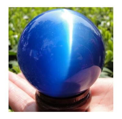 ASIAN QUARTZ PEACOCK BLUE CAT EYE CRYSTAL BALL SPHERE 40MM STAND
