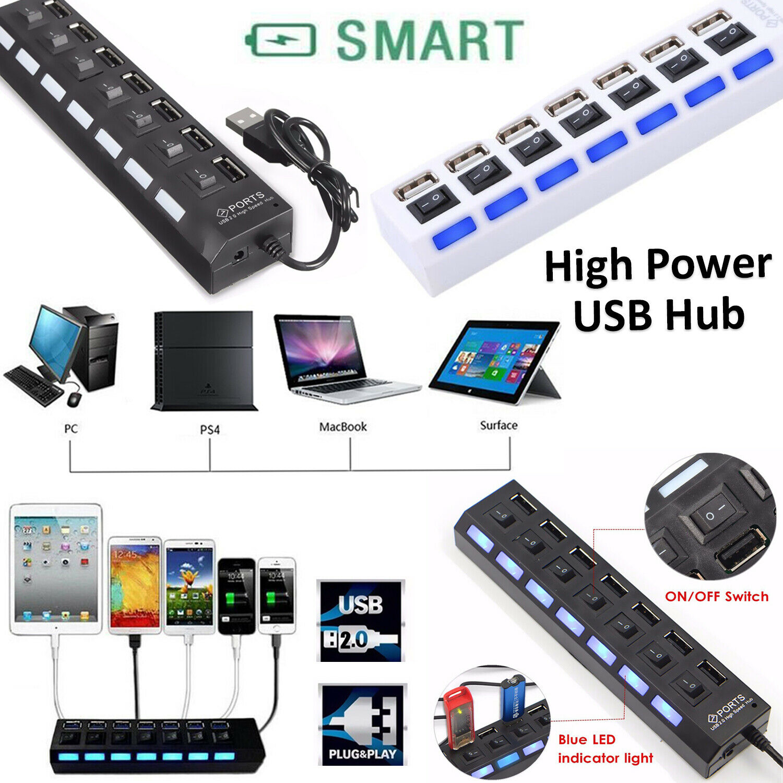 Multiple Connector Powerful USB (SEVEN) 7 Port HUB Hi-Speed Data Transfer 2.0 UK