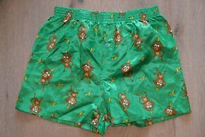 ☆—Satin—Silk—Boxer—Shorts—Shiny—Silky—Boxers—Cartoon—Glanz—Vintage—1990s—☆