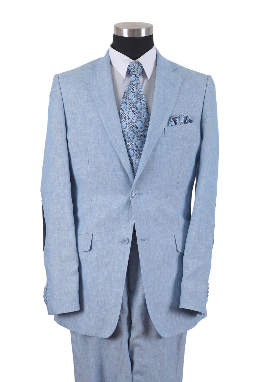 Milano Moda 100% Linen Two Button Suit  Pleated Pants Double Vents (bluee) 613L