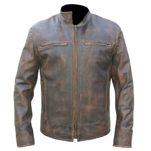 Men-039-s-Retro-URBAN-Vintage-Distressed-Brown-Biker-JACKET-Washed-REAL-Leather-TS