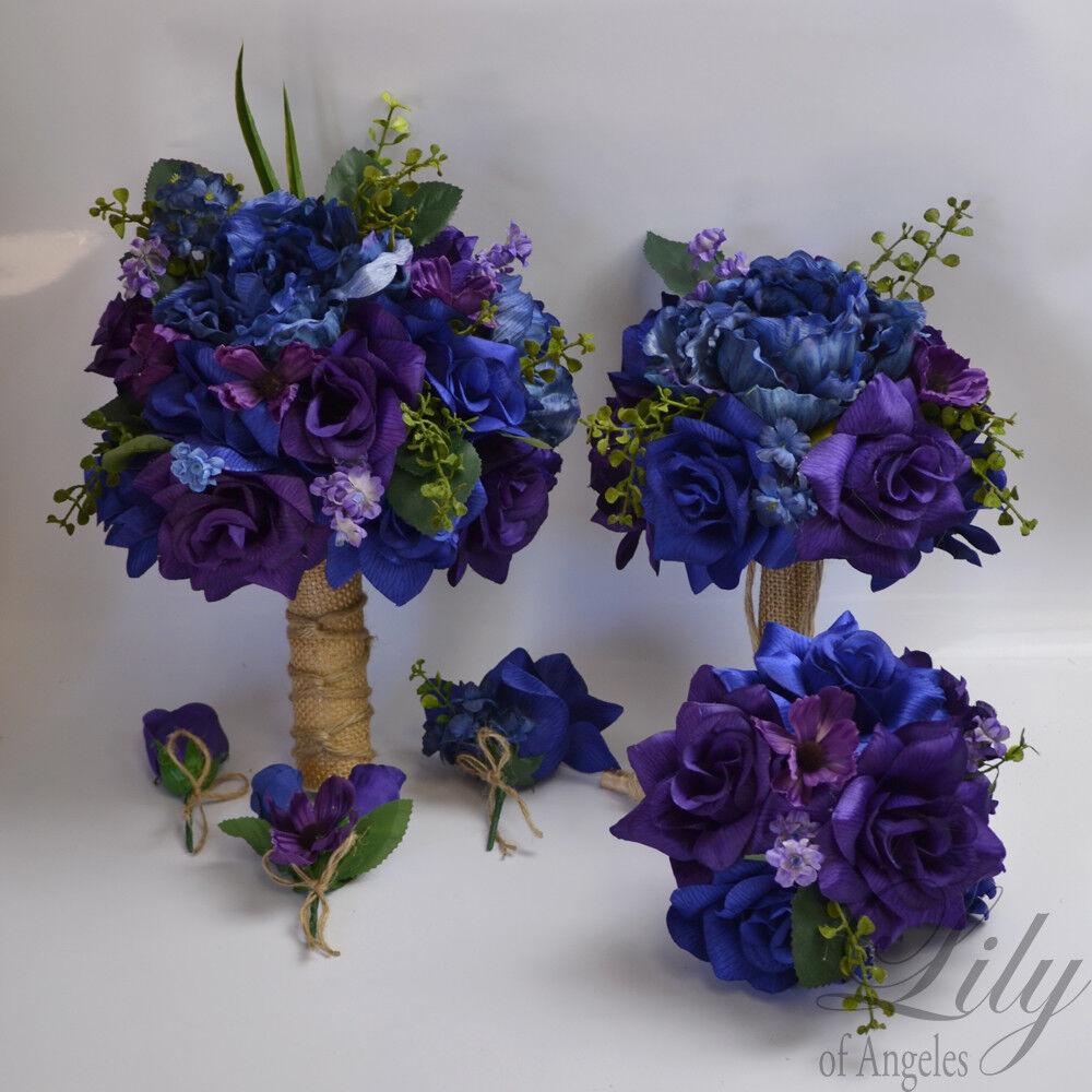 17 Pièce Paquet Wedding Bridal Bouquet Soie Fleur Bleu Marine Bleu Foncé Violet rustique