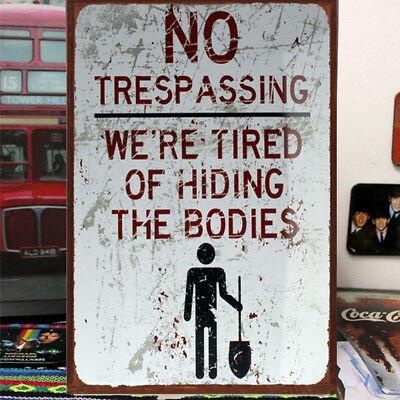 Retro Wall Poster Tin Metals Sign NO Trespassing Pub Bar Decor Old Industry Arts