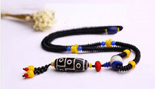 Big 3 Eye Dzi Bead with Coconut Flakes and Cinnabar Prayer Necklace