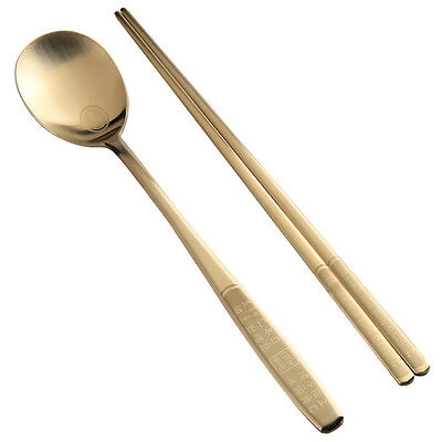 Titanium Plated High Quality Hangul Stainless Steel Chopsticks Spoon Set Hangeul