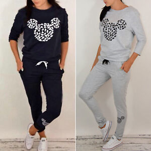 4a02e5130 Image is loading US-Women-Mickey-Mouse-Printed-Tracksuit -Sweatshirt-Pullover-