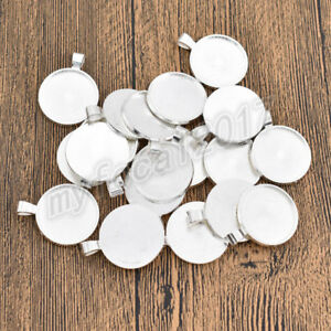 20-Pcs-25mm-Round-Pendant-Cabochon-Base-Setting-Tray-Blank-for-Demo-Cabochon