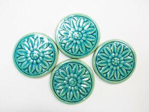 FLORAL MEDALLION TILES Handmade Ceramic Craft / Mosaic Tiles Aqua Crackle 4 pcs