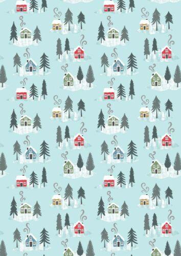 Día Cuarto Gordo Navidad Lewis y Irene escena de nieve 100/% Tela De Algodón