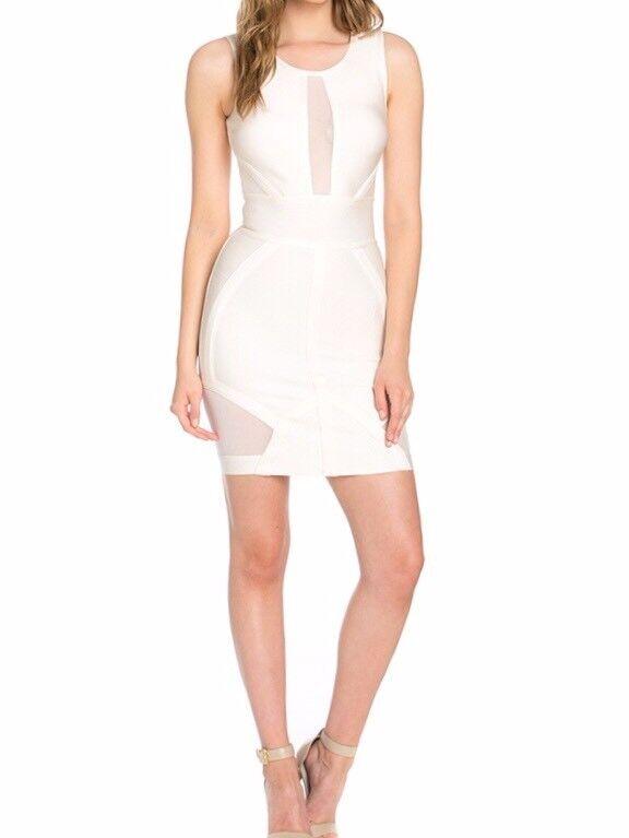 New damen Meshed Bandage Sleeveless Dress Weiß Größe S USA