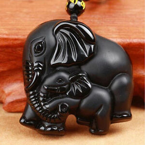 Obsidian-Hand-Carved-Elephant-Lucky-Pendant-Beads-Black-necklace-wolf