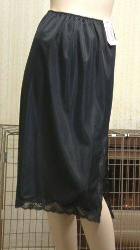 White /& Cream Lawton/'s Waist Slip 27ins Length With Lace Trim Split Side Black