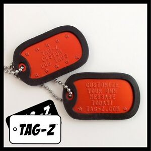 92040dd28784 Details about 2 Military Dog Tags - Custom Embossed Orange Tags with  Silencers & Chains