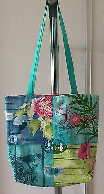 Shopper, Damenhandtasche, Weekender, Handarbeit, mint blau grün pink