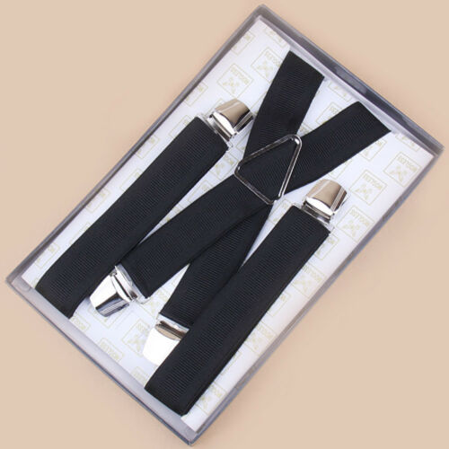 Hot Men 4 Colors Elastic Suspenders Leather Braces X-Back Adjustable Clip-on