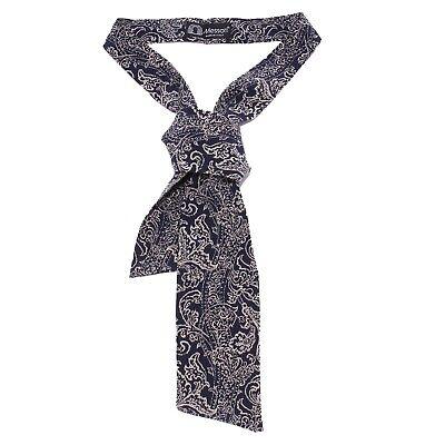 100% Vero 5921y Cravatta Ascot Uomo Messori Silk Blue/beige Ascot Tie Men