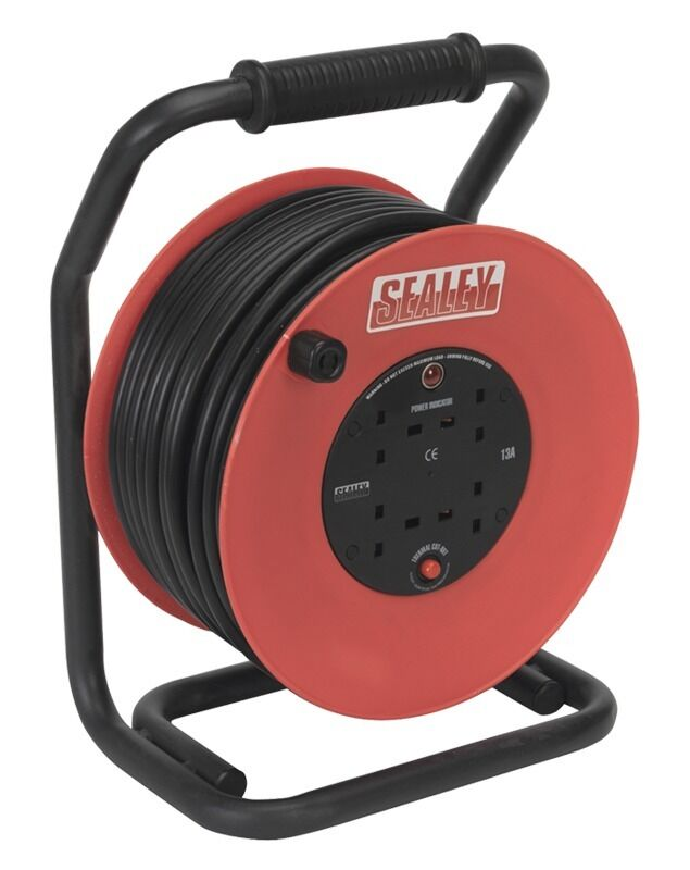 Sealey Cable Reel 50mtr 4 x 230V 2.5mm² Heavy-Duty Thermal Trip CR25025