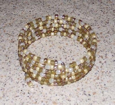USA Made Coil Bracelet Boho Buttercream Beaded Wrap Gold Glass Bead Mix