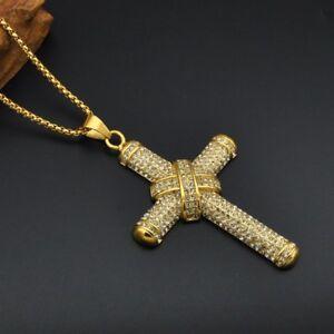 taglia 40 fa3cc 1785a Dettagli su Da Uomo Grande Croce di Ghiaccio Ciondolo & Collana 60cm Colore  Oro Bling- mostra il titolo originale
