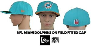 New Era 59FIFTY NFL Miami Dolphins On Field Fitted Cap Hat Size 7 7 ... 957f03137