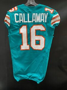 #16 ANTONIO CALLAWAY MIAMI DOLPHINS TEAM ISSUED/GAME USED THROWBACK NIKE JERSEY
