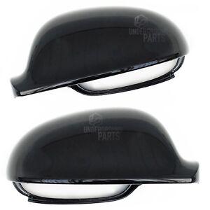 VW-GOLF-MK5-METALLIC-BLACK-LEFT-RIGHT-PAIR-DOOR-WING-MIRROR-COVERS-CAPS-HOUSING
