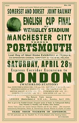 FA Cup Final Excursion Vintage Rail travel advertising Poster reproduction.