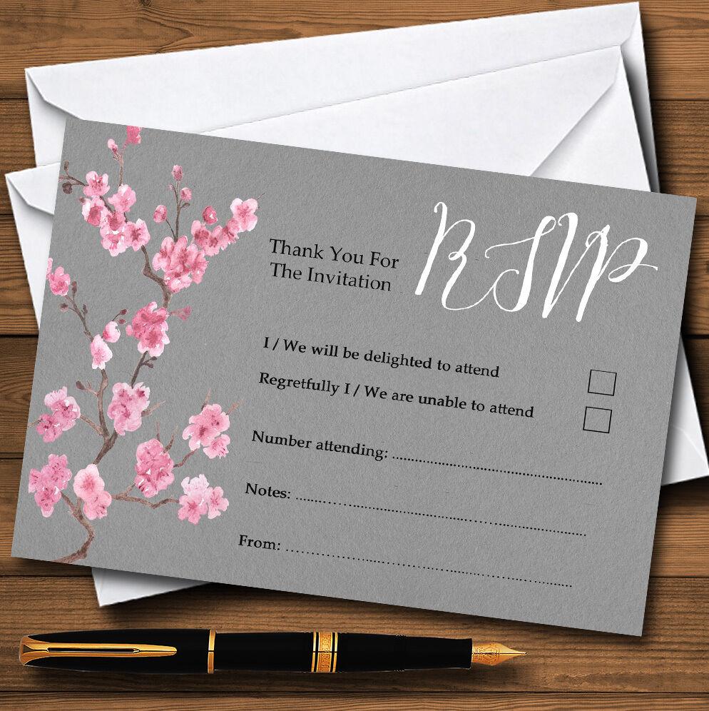 RUSTIC Vintage Grigio Grigio Grigio Scuro & rosa Blossom Personalizzati RSVP CARDS 8ac86e