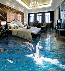 3D la luz del sol Delfín Papel Pintado Mural Parojo Impresión de suelo 9 5D AJ Wallpaper Reino Unido Limón