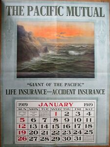 Insurance 1919 Advertising Calendar/GIANT 35x47 Poster: Pacific Mutual Life