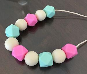Pflege DemüTigen Zahnen Halskette Kinderzimmer Sensorische Baby Duschen Silikon Perlen Pink Auswahlmaterialien Beißringe