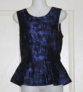 Womens-size-8-blue-shiny-peplum-dress-top-made-by-SPORTSGIRL