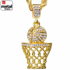 """Iced Out 14k Gold Plated Basketball Hoop Pendant 24"""" Rope ..."""