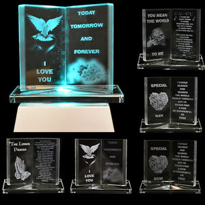 NEW-GLASS-CRYSTAL-ORNAMENTS-BOOK-GIFT-SET-POEM-POETIC-WRITING-MESSAGE-MUM-DAD
