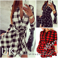 UK Womens Plaid Romper Skirt Dress Ladies Party Mini Shirt Dress Size 6 - 14