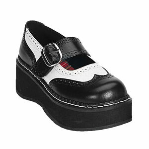 Demonia-Emily-302-Ladies-Shoes-Goth-Punk-Black-White-Lolita-Rockabilly-Oxford