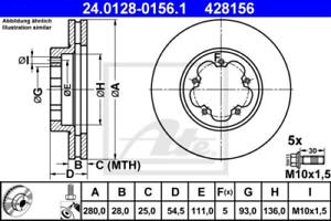 06- 24.0128-0156.1 2 x Ate Bremsscheibe VA passend für FORD TRANSIT